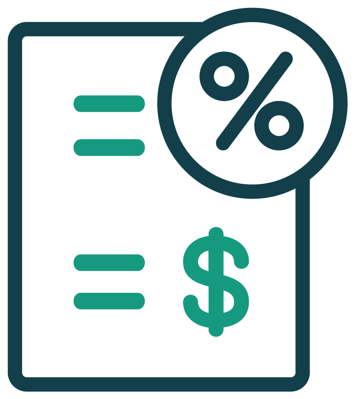 Bank rates and fees icon